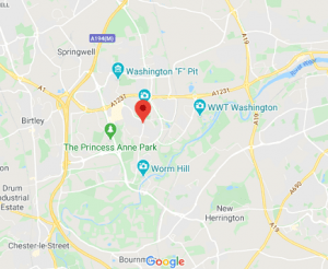 our location at washington tyne and wear map